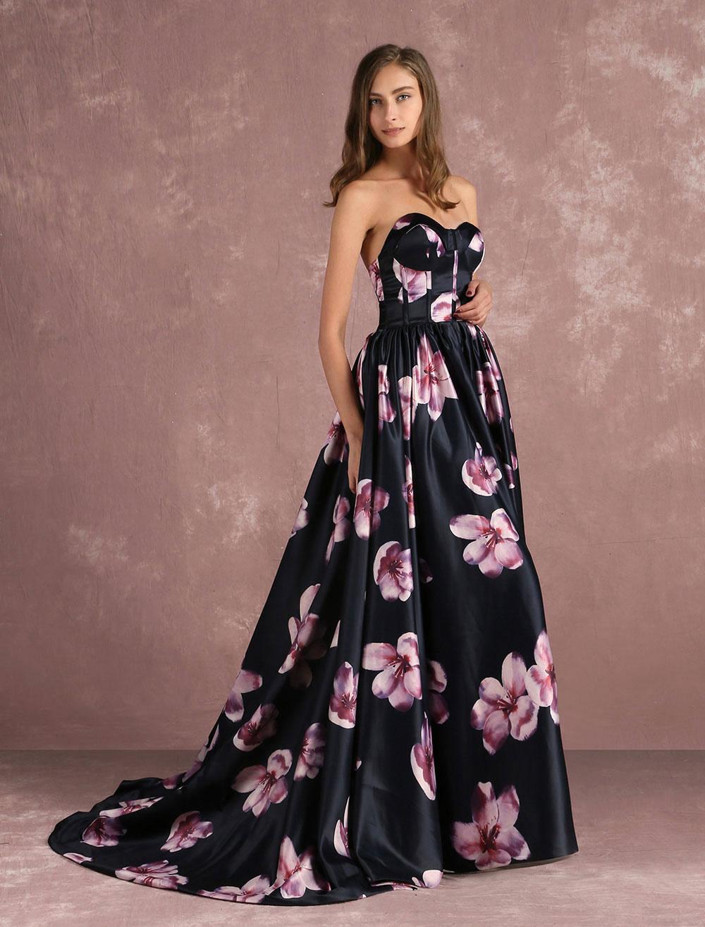 Floral Festzug Kleid schwarz Sweetheart trägerloser Ausschnitt lange ...