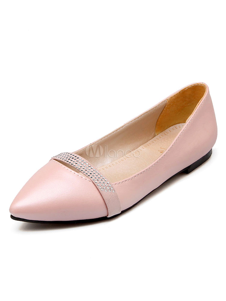 Pink Ballet Flats Pointed Toe PU Slip On Pumps For Women