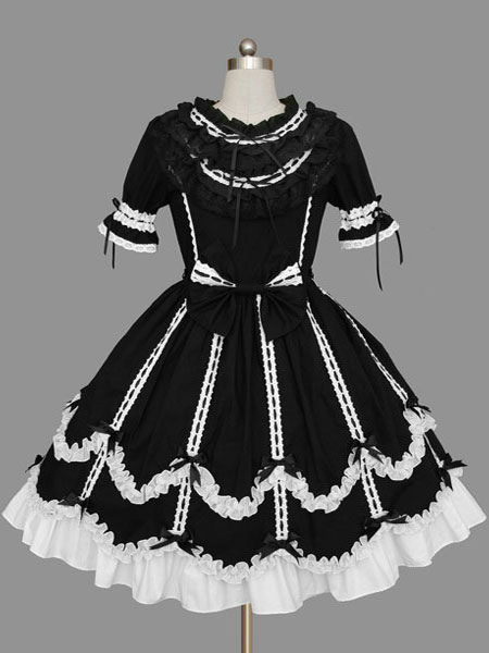 Buy Sweet Lolita Dress OP Black Short Sleeve Cotton Lolita One Piece Dress for $71.99 in Milanoo store
