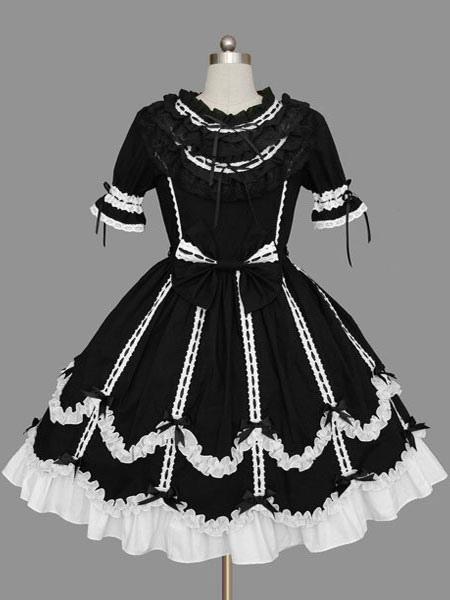 Buy Sweet Lolita Dress OP Black Short Sleeve Cotton Lolita One Piece Dress for $64.79 in Milanoo store