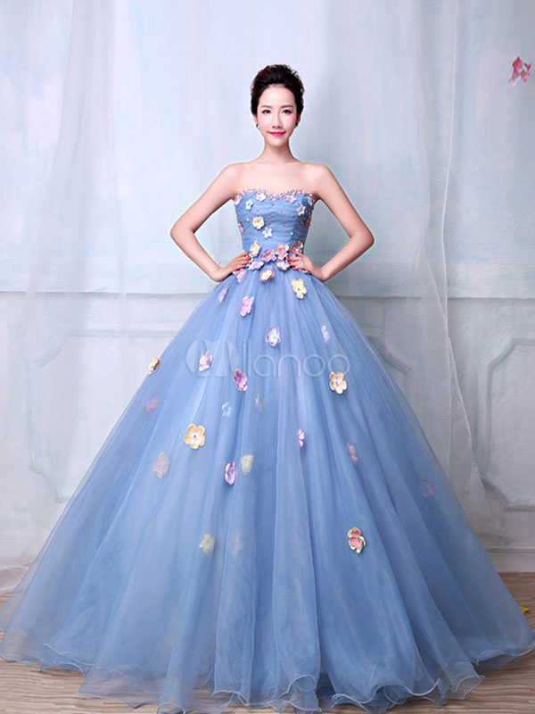 Blue Quinceanera Dress Strapless Princess Pageant Dress Pearl Flower Organza Sweetheart Floor Length Prom Dress