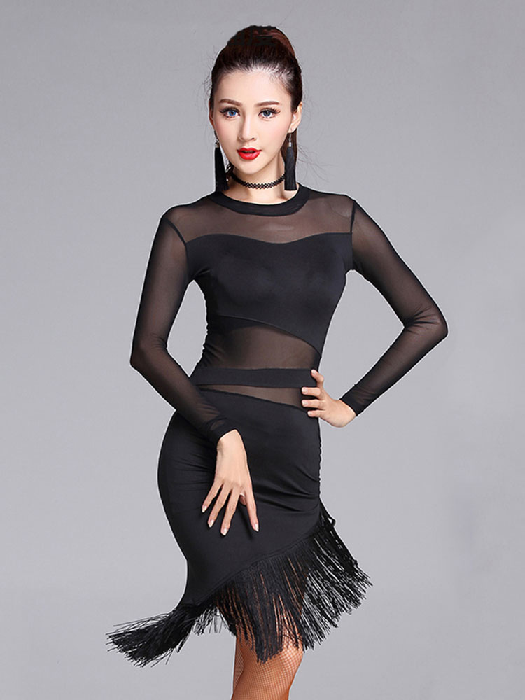 Buy Latin Dance Costume Silk Patchwork Semi Sheer Fringes Irregular Hem Bodycon Latin Dancing Dress for $44.99 in Milanoo store