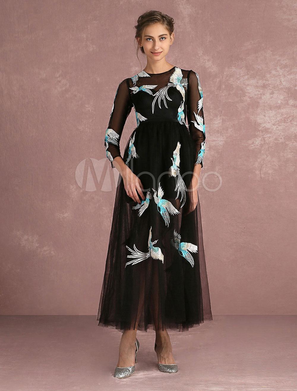 Tüll Prom Kleid schwarz Illusion bestickte Cocktailkleid Juwel 3/4 ...