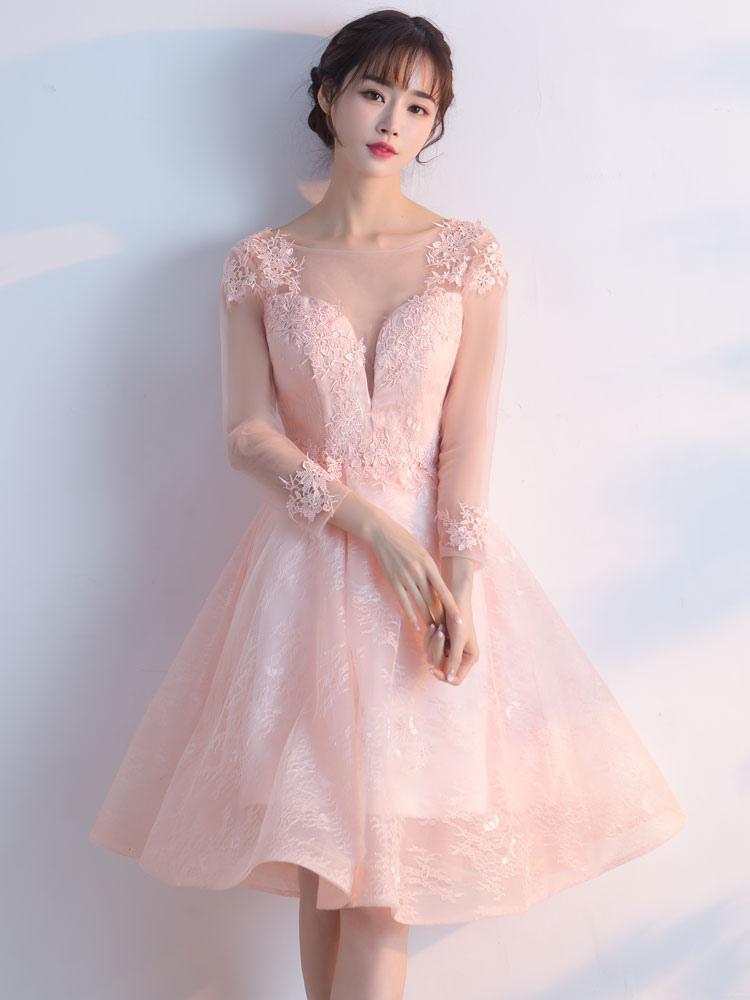 389d17f6909 ... Мягкие розовые платья выпускного вечера 2019 Короткое платье для выпускного  платья с длинным рукавом из кружевницы ...