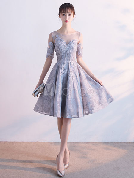Buy Light Grey Prom Dresses 2018 Short Floral Print Lace Homecoming Dress Flowers Applique Half Sleeve Beading Knee Length Cocktail Dress for $131.99 in Milanoo store