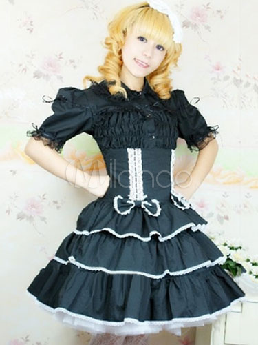 Buy Black Lolita Dress SK Cotton Sweet High Waist Lolita Skirt for $41.99 in Milanoo store