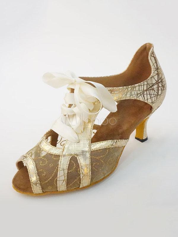 Gold Dance Shoes Peep Toe Lace Up Latin Dancing Shoes Ballroom Dance Shoes For Women