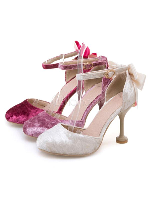 Zapatos de lolita de PU de puntera puntiaguada con lazo rojos 8HNBBmmP