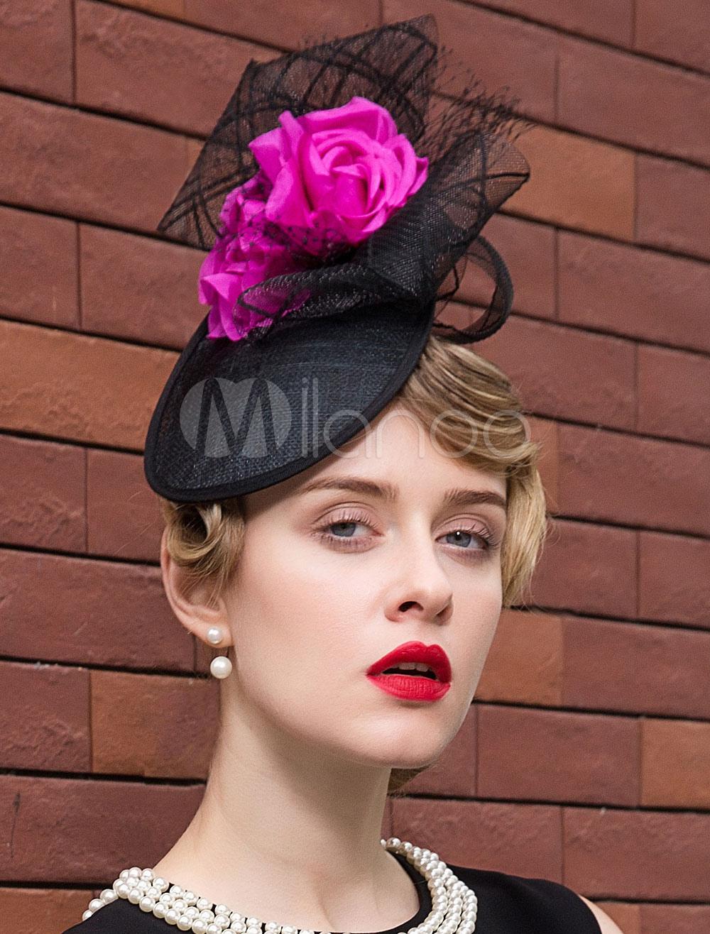 Buy Vintage Flapper Hat Linen Tulle Flower Decor Color Block Black Retro Headpiece Hat Halloween for $48.99 in Milanoo store