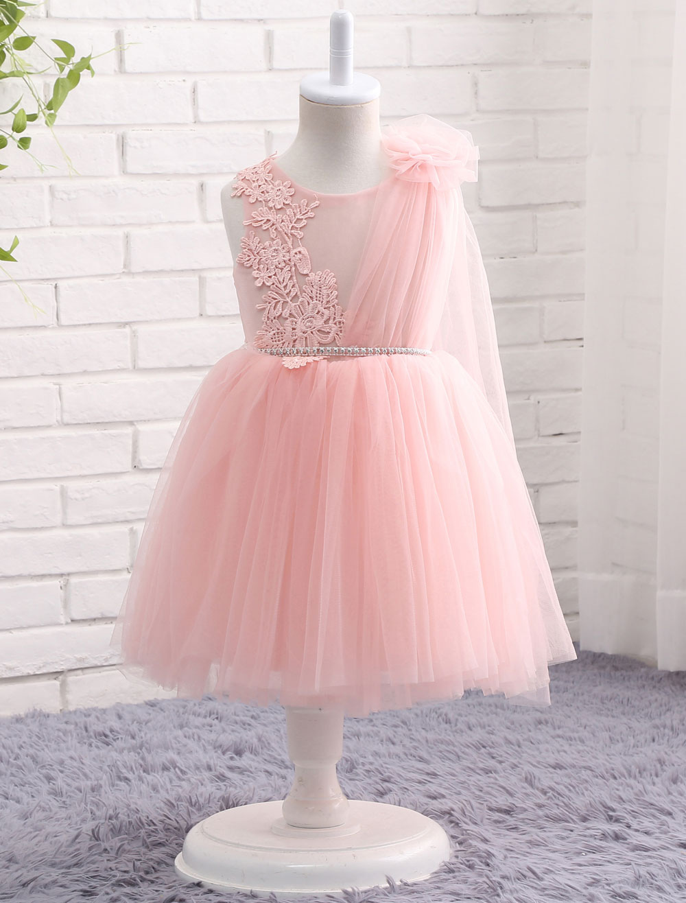 Blush Pink Flower Girl Dress Tulle Lace Applique Princess Knee Length Chain Sash Toddler's Pageant Dress With Side Draping