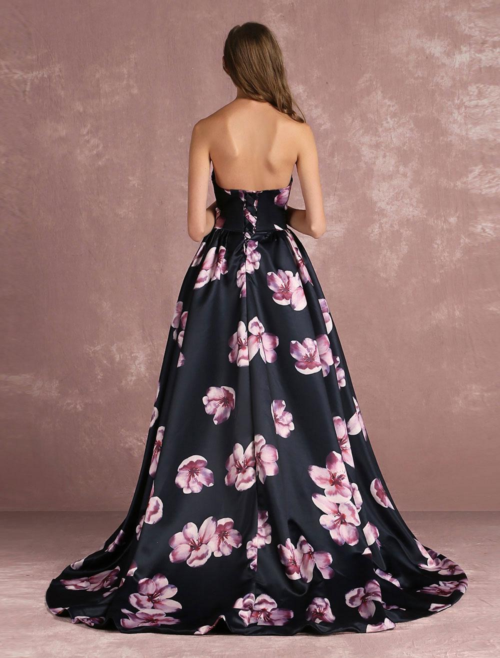 floral festzug kleid schwarz sweetheart trägerloser ausschnitt lange  ballkleid entbeint gedruckten kapelle zug anlass kleid