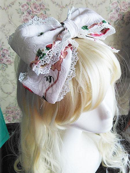 Buy Sweet Lolita Headband White Printed Bow Lolita Headdress for $17.09 in Milanoo store