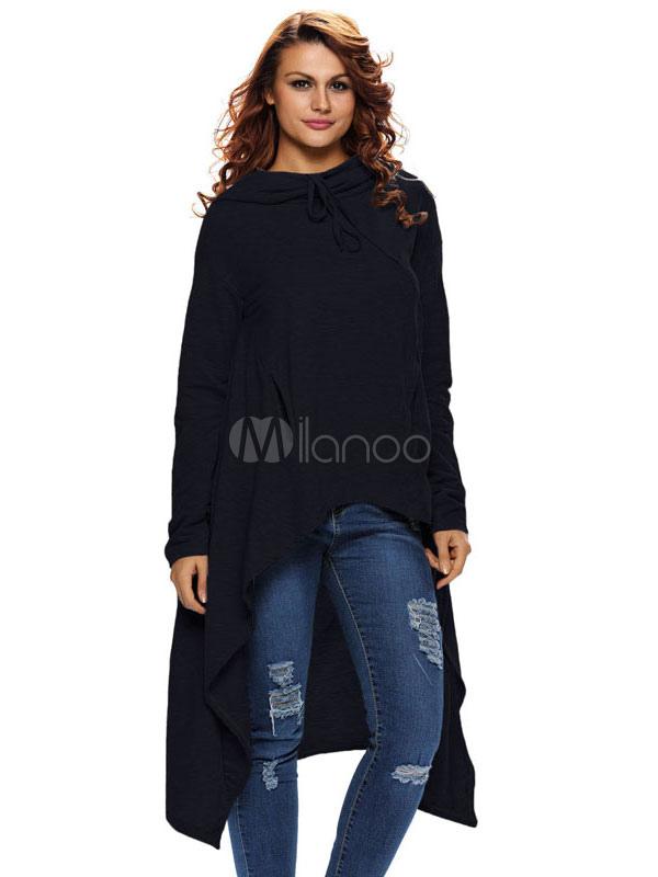 High Low Hoodie Women's Burgundy Long Sleeve Hooded Sweatshirt