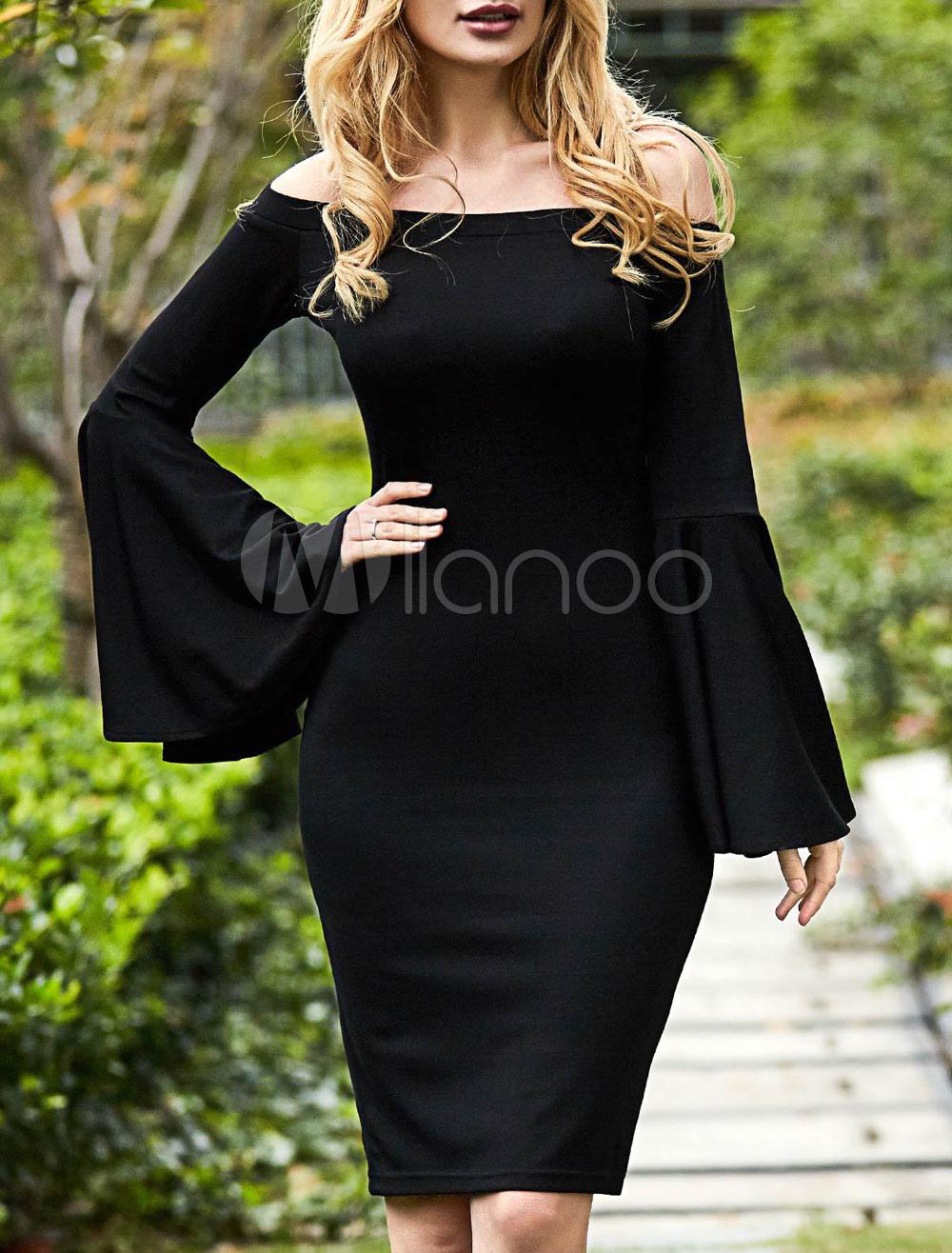 e09085e7a27e Abito aderente nero cotone con spalle scoperte maniche larghe maniche  lunghe Accessori non inclusi. donna ...