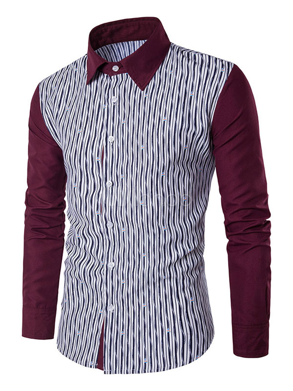 Men's Red Shirts Long Sleeve Striped Color Block Casual Shirts