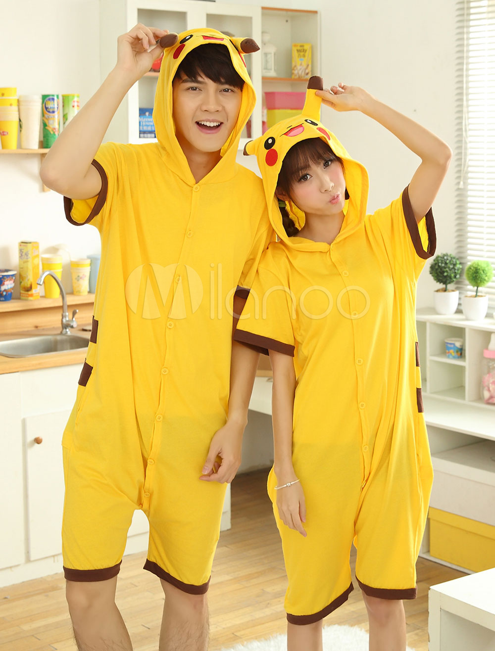 572e24c1379 Kigurumi Costumes · Kigurumi Adult · Kigurumi Pajama Pokemon Pikachu Onesie  Yellow Cotton Short Sleeve Anime Sleepwear For Adult Halloween-No ...