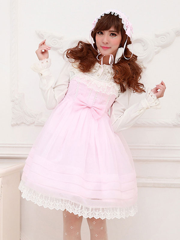 Buy Sweet Lolita Dress OP Lace Trim Bow Decor Chiffon One Piece Lolita Dress for $42.99 in Milanoo store