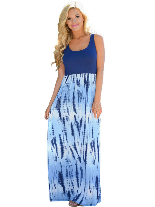 Buy Women's Maxi Dress Boho Light Blue U Neck Sleeveless Printed Long Dress for $17.84 in Milanoo store