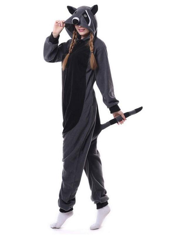 Costumi Halloween Adulti.Kigurumi Pigiama 2019 Procione Tutina Grigio Biancheria Da Notte In Flanella Animali Per Adulti Costume Halloween
