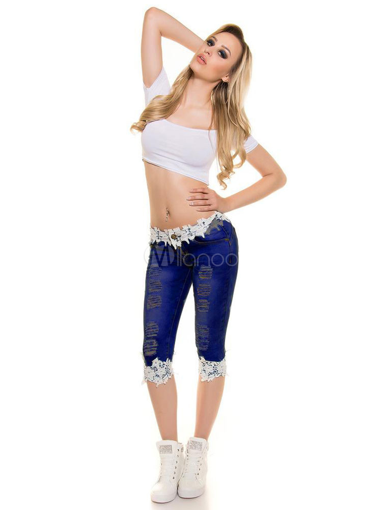 Buy Cropped Ripped Jeans Women's Skinny Fit Lace Edge Denim Pants for $28.49 in Milanoo store