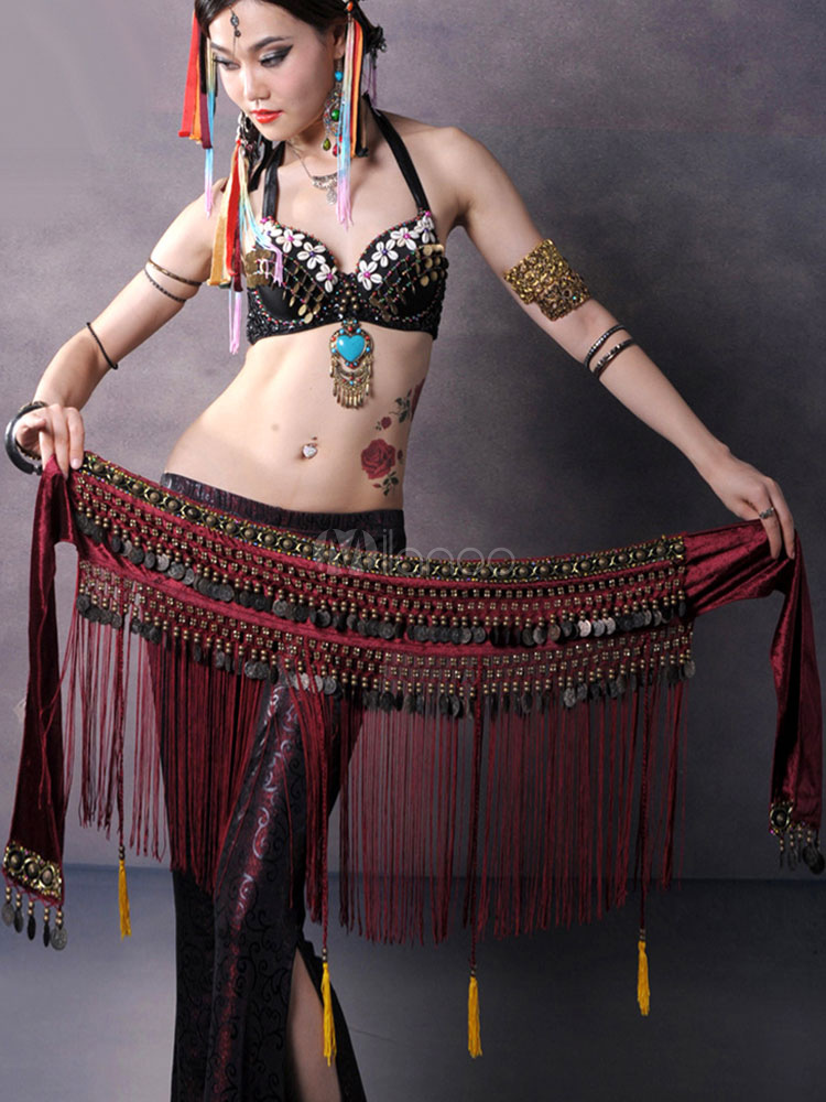 Buy Belly Dance Costume Hip Scarf Burgundy Coin Drop Fringe Bollywood Dancing Costume Accessories for $25.99 in Milanoo store