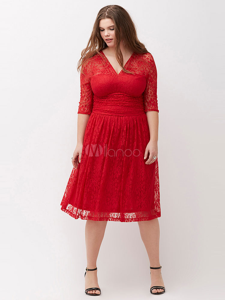 Red Lace Dress Plus Size V Neck Illusion Half Sleeve Womens Summer