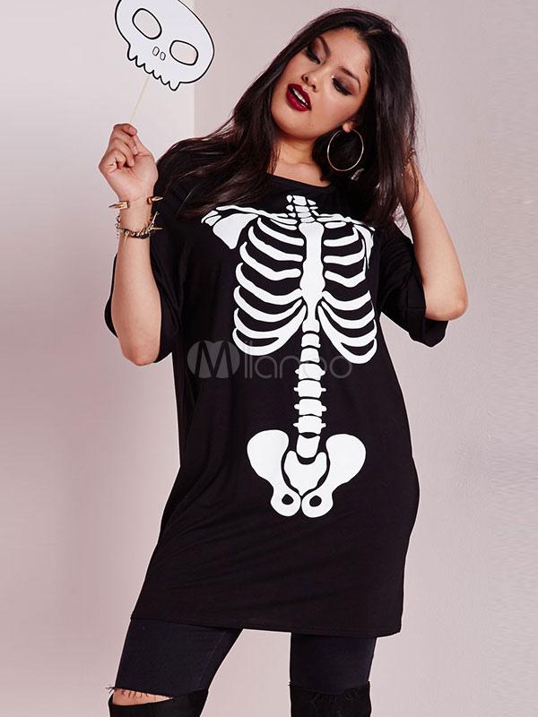 Black T Shirt Dress Plus Size Skeleton Printed Women S Short Sleeve Summer Dresses Milanoo Com