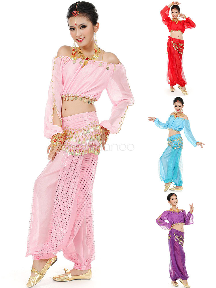 Belly Dance Costume Chiffon Bollywood Dance Dress With Fanon for Women
