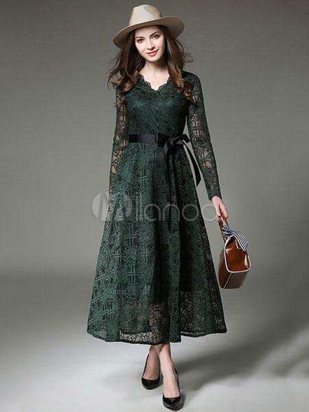 Atrovirens Lace Dress Women's V Neck 3/4 Length Sleeve Pleated Long Dress