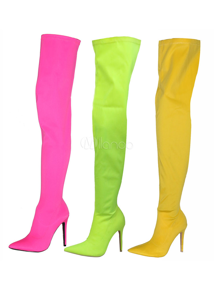 Buy Women Stretch Boots High Heel Over Knee Boots Yellow Pointed Toe Thigh High Boots for $66.49 in Milanoo store