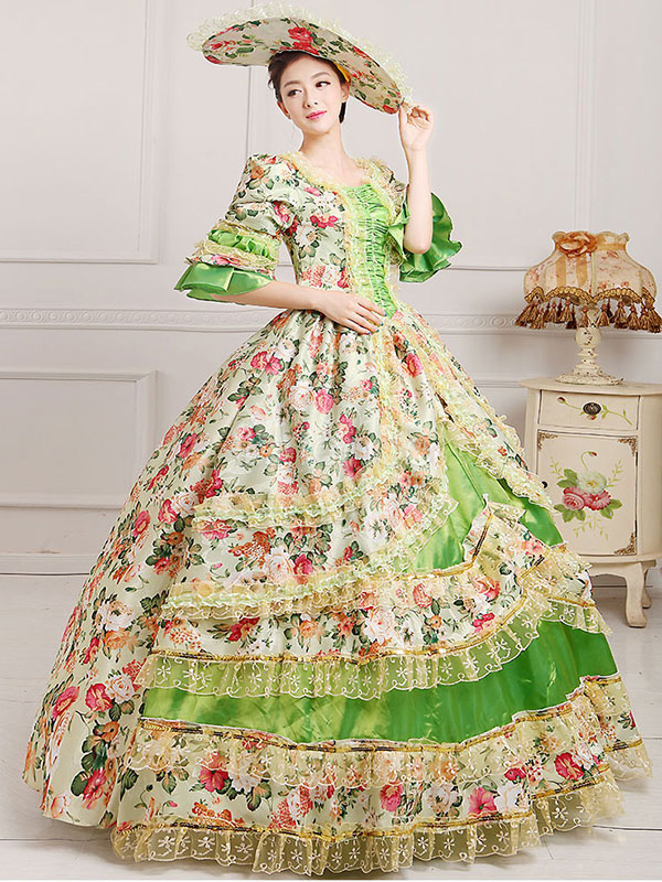 Women\'s Vintage Costume Victorian Ball Gown Floral Print Dress With ...