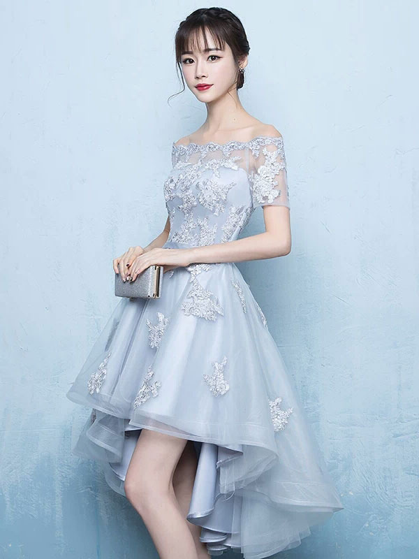 1ef68ffdd059 ... High Low Homecoming Dress Lace Prom Dress 2019 Off The Shoulder Light  Grey Applique Short Sleeve ...