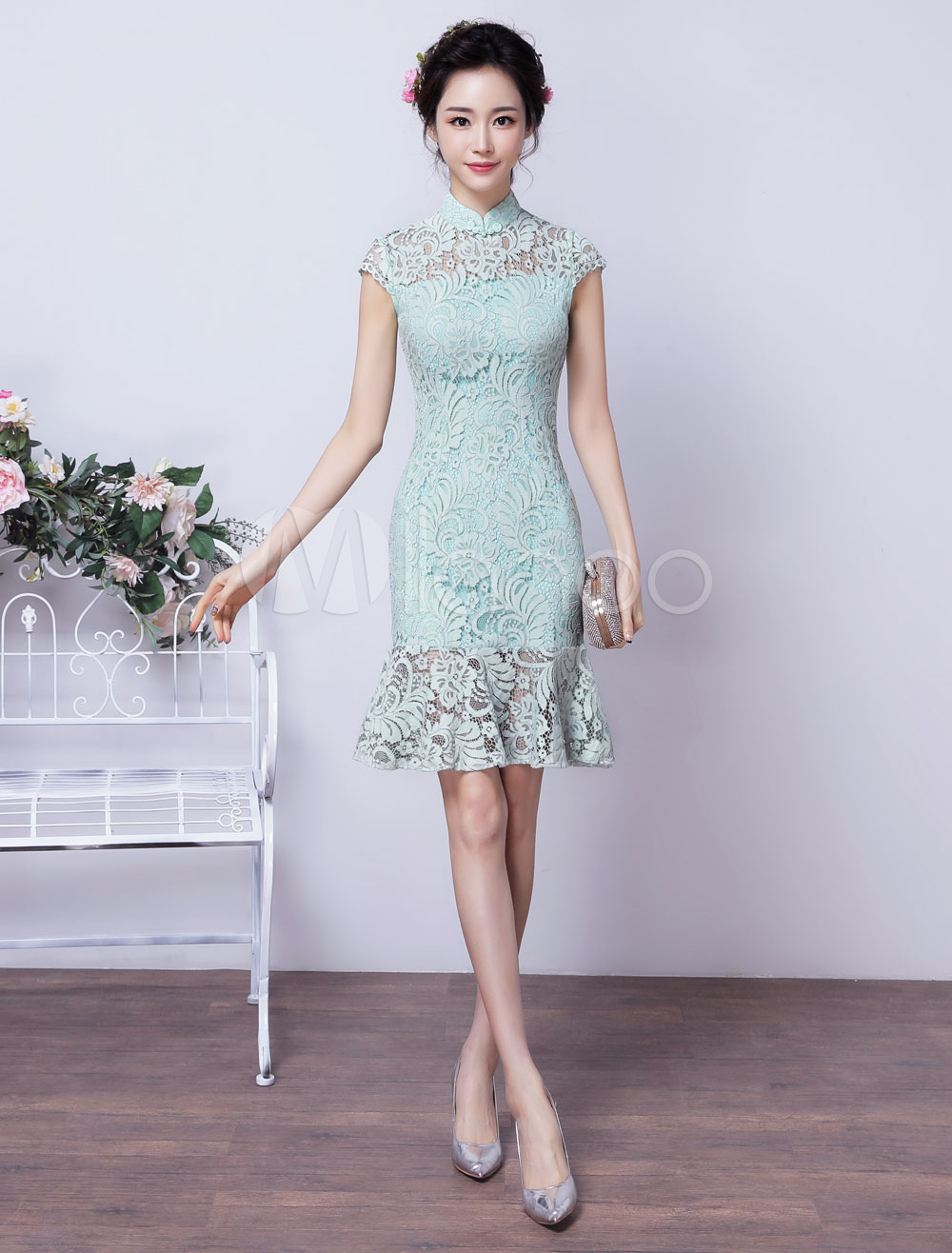 Sheath Cocktail Dress Mint Green Lace Mother Of The Bride Dress Ruffles Short Wedding Guest Dresses