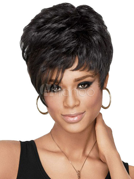 Buy Human Hair Wigs Short Deep Wave Curly Women's Tousled Black Hair Wigs for $41.39 in Milanoo store