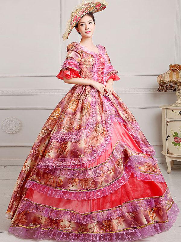 Traje Vintage Victorian Floral impresión Vestido de las mujeres con ...