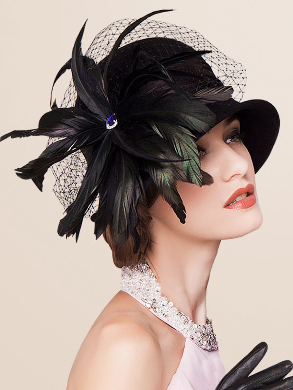 fab1791a4705c Retro Costume Hat Feathers Black Wool Women s Vintage Flapper Cloche Hat  Costume Accessories Halloween- ...