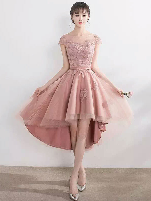 Blush Pink Homecoming Dresses High Low Lace Applique Illusion Short Prom Dresses 2018