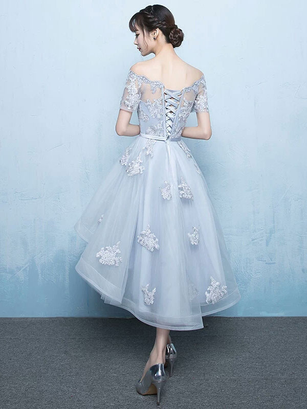 9ef30b8f4008 ... High Low Homecoming Dress Lace Prom Dress 2019 Off The Shoulder Light  Grey Applique Short Sleeve ...