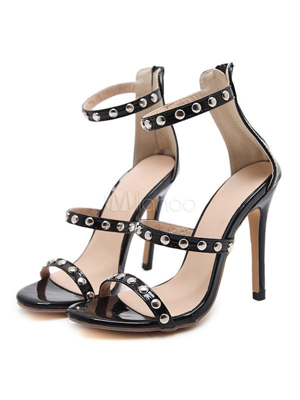 Alto Sandalias Zapatos Tacón Abierta Punta De Jqlzmvpsug Mujer Negra 1l5uTJc3FK