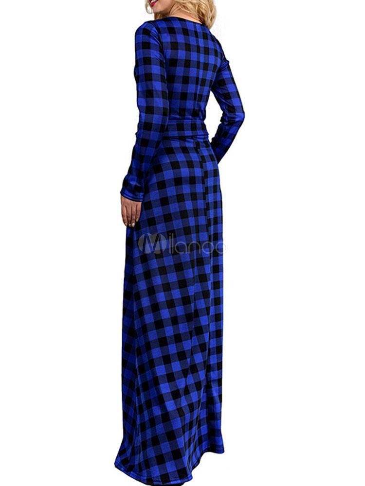c48070088eaf ... Abito lungo in cotone di lino con scollo tondo maniche lunghe scozzese  modellante donna -No