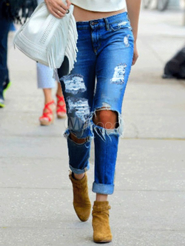 Buy Skinny Jeans Ripped Women Cut Out Distressed Denim Pants for $22.99 in Milanoo store