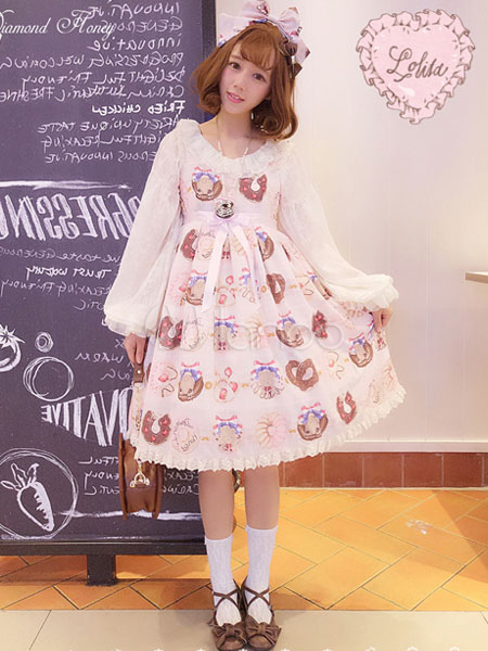 Buy Sweet Lolita JSK Jumper Skirt Bows Food Print Ruffles Frills Chiffon Pink Lolita Dresses for $101.99 in Milanoo store