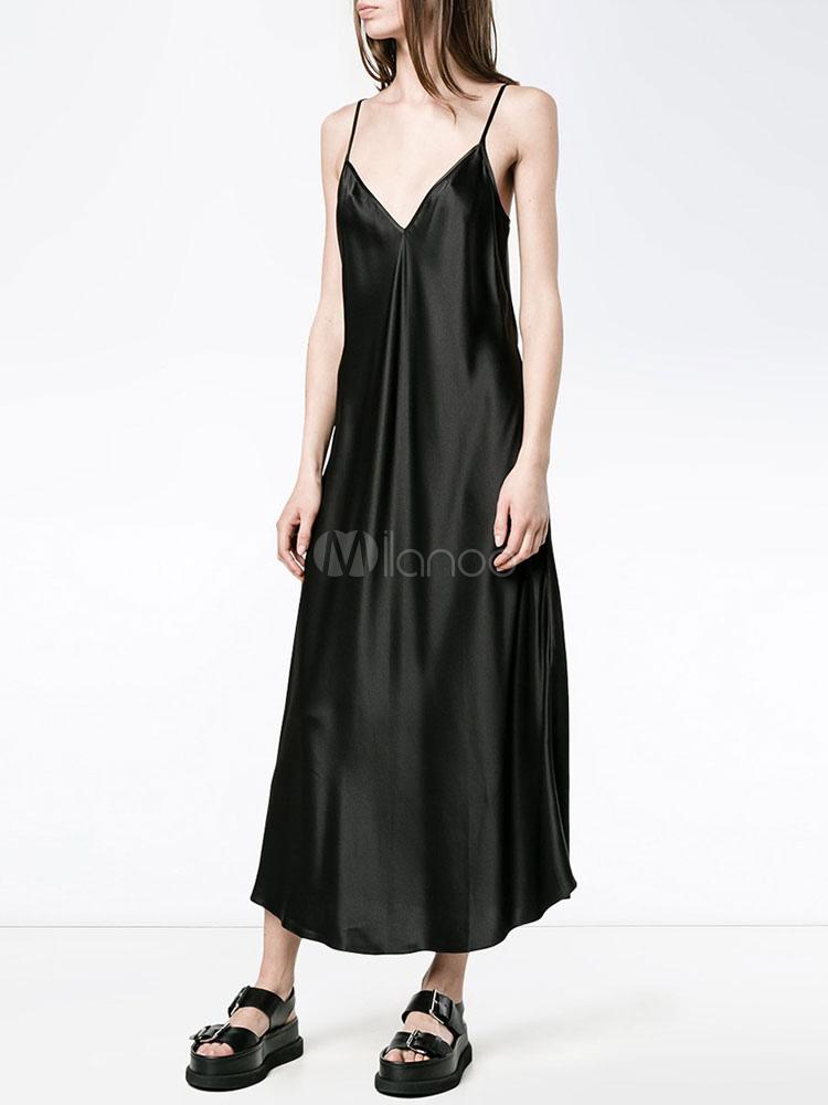 Buy Black Shift Dress V Neck Spaghetti Straps Pleated Low Back Long Slip Dress for $9.49 in Milanoo store