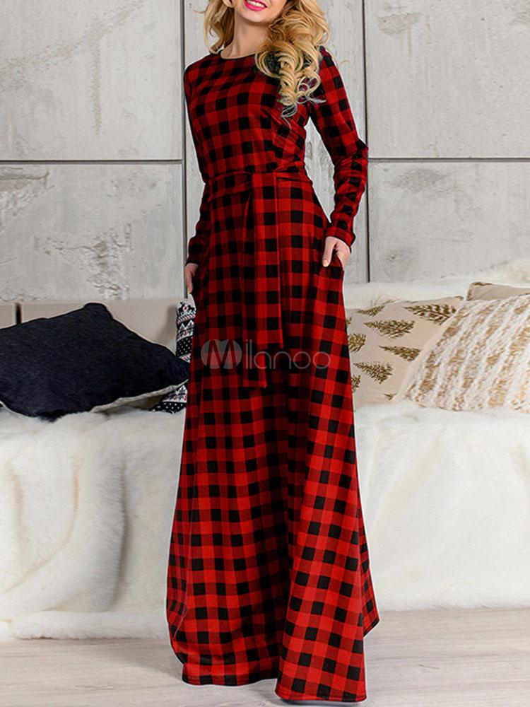 15579c653712 Abiti · Vestiti estivi lunghi · Abito lungo in cotone di lino con scollo  tondo maniche lunghe scozzese modellante donna -No ...