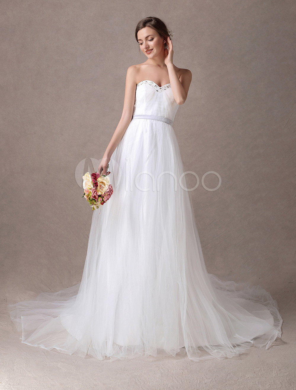 Princess Sweetheart A-Line Strapless Tulle Satin Bridal Dress