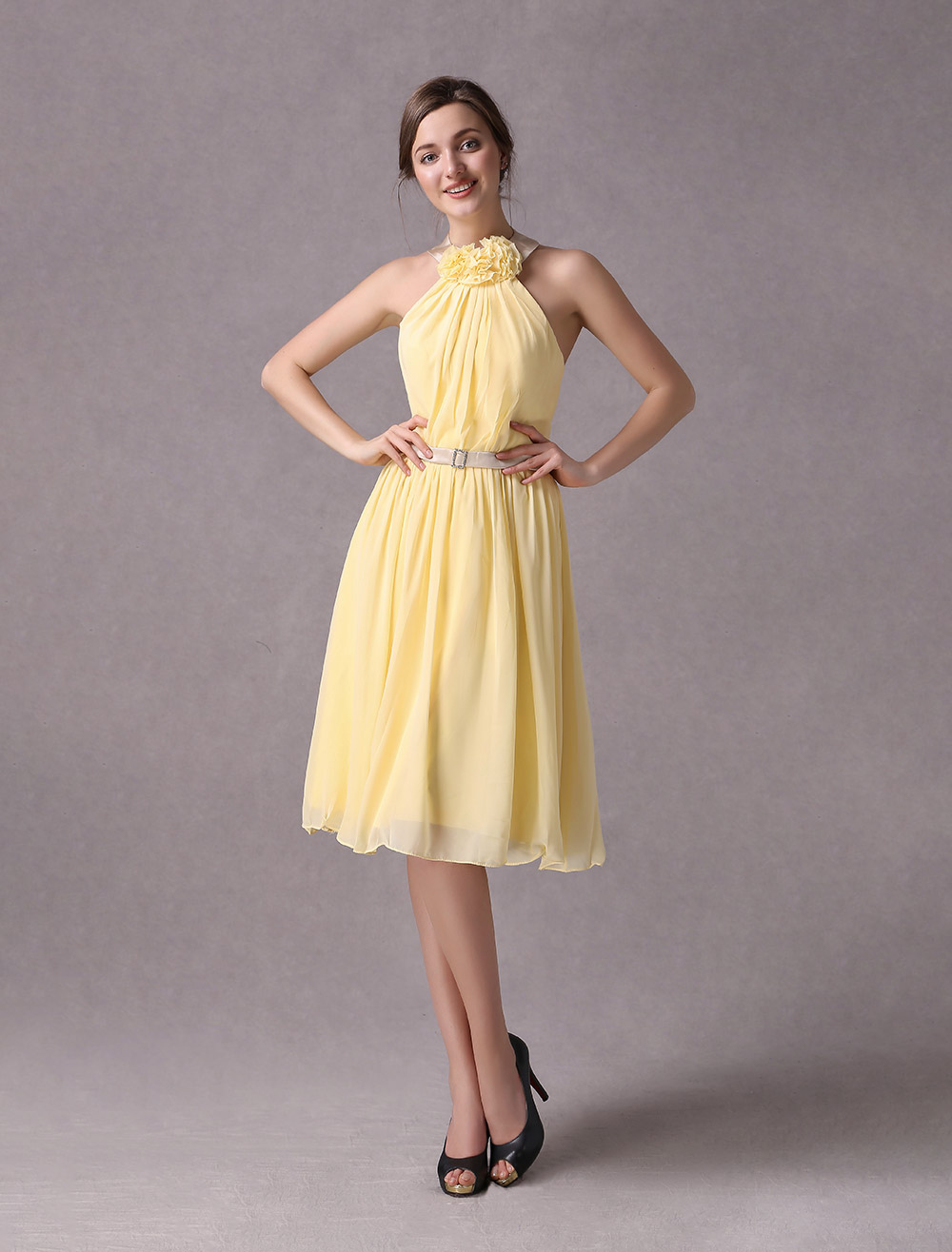 brautmutterkleider prom- abendkleider für hochzeit gelb  brautjungfernkleider chiffon mit halter hochzeit knielang ärmellos