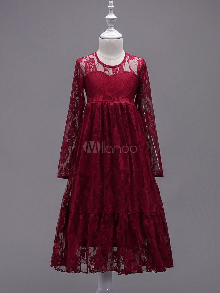 8efdd0870 ... Boho Flower Girl Dresses Lace Long Sleeve Illusion Floor Length Kids  Social Party Dresses-No ...