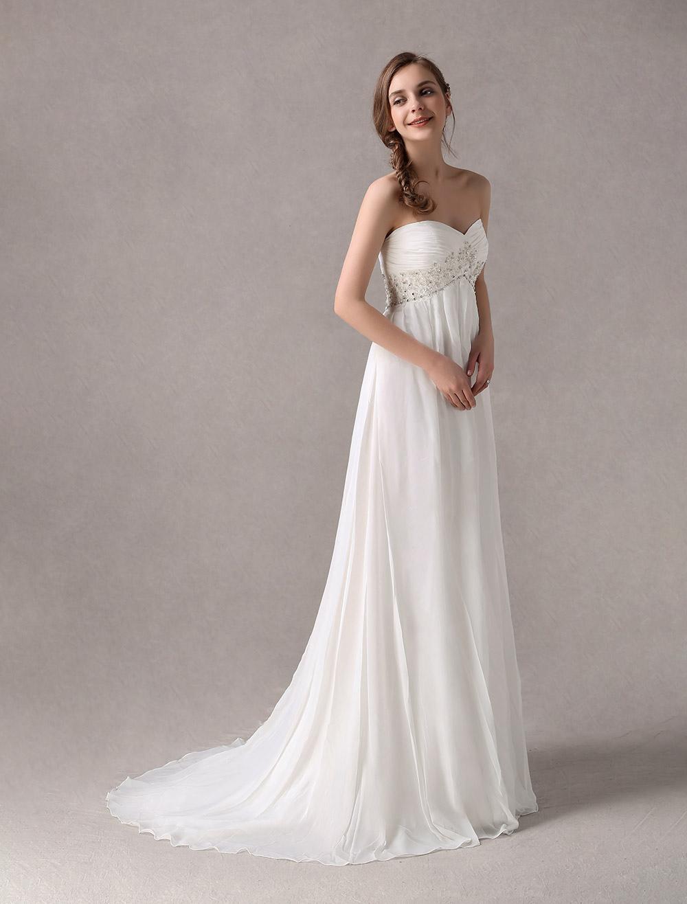 Sweep Ivory Chiffon Wedding Dress with Empire Waist - Milanoo.com