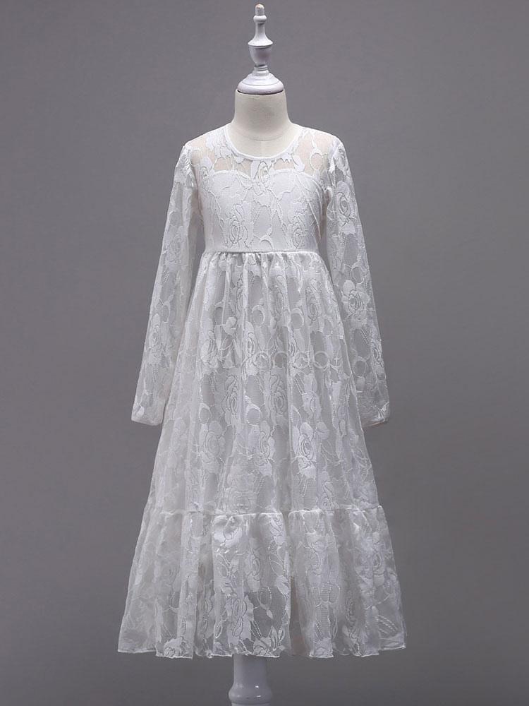 b8e9307bbdda6 ... Boho Flower Girl Dresses Lace Long Sleeve Illusion Floor Length Kids  Social Party Dresses-No ...