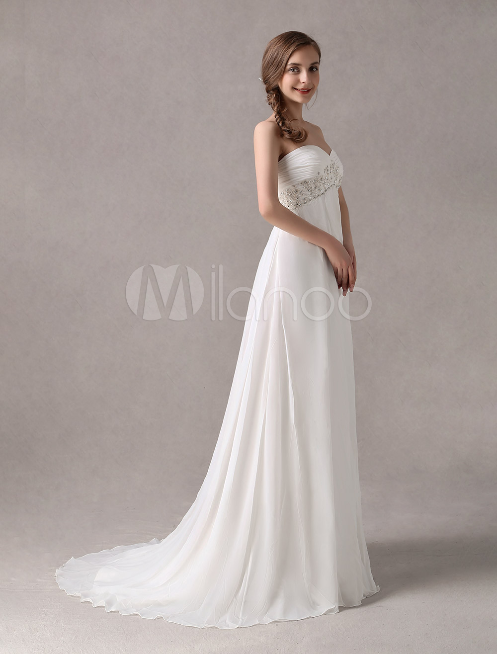 Sweep Ivory Chiffon Wedding Dress with Empire Waist
